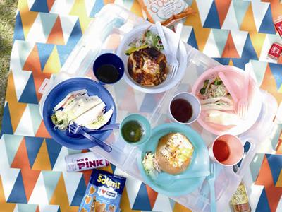 ガーデンパーティーレジャー テーブル&食器セット ブルー