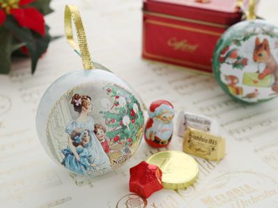 カファレル Caffarel クリスマス オーナメント缶 ボンナターレ・バンビーニ! チョコレート ギフト 5粒入 ビアンカペルラ ホワイト