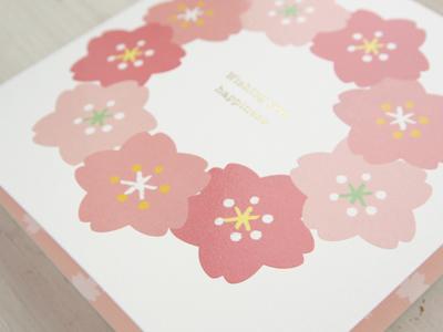 春柄寄せ書き 色紙 桜 さくら リース 14人分