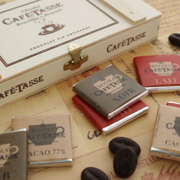 カフェタッセ(CAFE TASSE) ミニコーヒー 木箱セット 12枚入り チョコレート