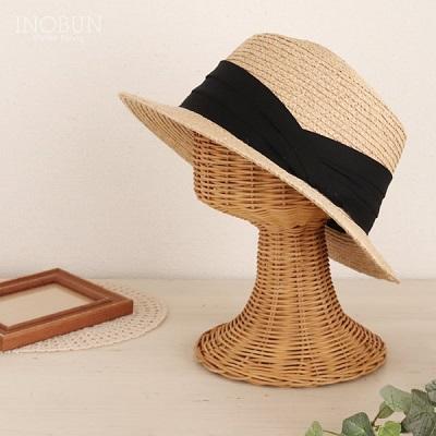 ラフィアカンカン帽 帽子 INOBUN イノブンオリジナル