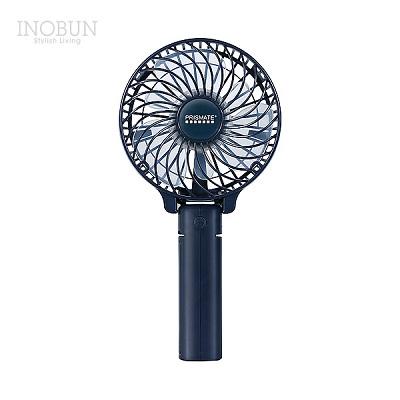 扇風機 首かけ ハンディ 卓上 ハンディファン PR-F049-NV ネックストラップ付 USB充電 ネイビー