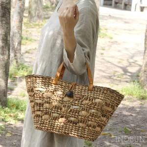 変わり編み カゴバッグ